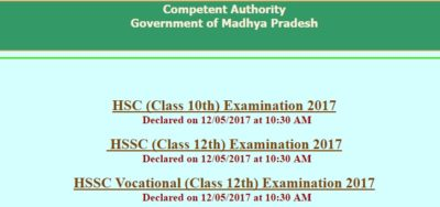 MP Board Madhya Pradesh Board Class 12 and Class 10 Results (MPBSE Results 2017) Declared at Mpresults.nic.in