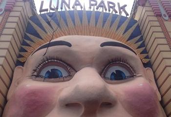 Crane collapse damages the famous face of Sydney's Luna Park